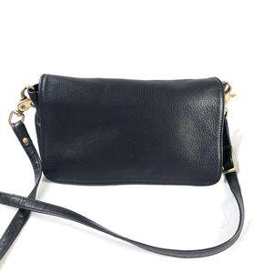 LIBAIRE | Vintage black leather crossbody purse